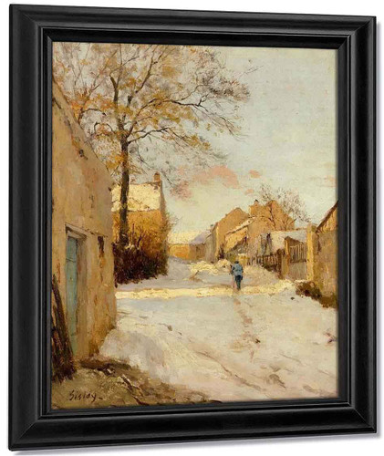 A Village Street In Winter, By Alfred Sisley