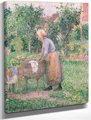 A Washerwoman At Eragny By Camille Pissarro By Camille Pissarro