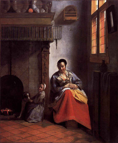 A Woman Nursing An Infant With A Child And A Dog By Pieter De Hooch