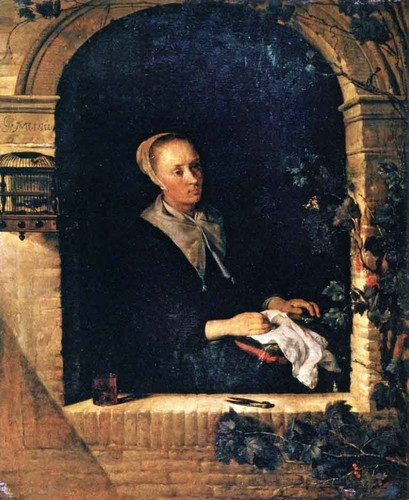 A Woman Sewing By Gabriel Metsu