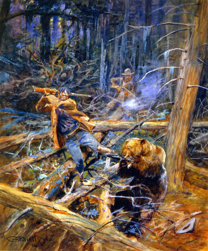 A Wounded Grizzly By Charles Marion Russell