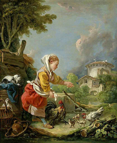 A Young Girl Feeding Poultry By Francois Boucher