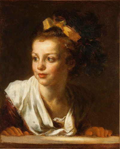 A Young Girl Leaning On A Window Ledge By Jean Honore Fragonard By Jean Honore Fragonard