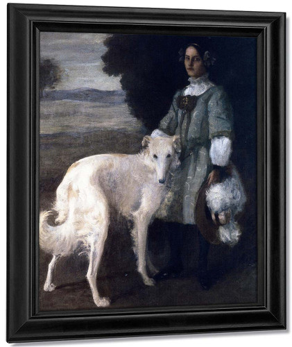 Alice With Wolfhound By William Merritt Chase By William Merritt Chase