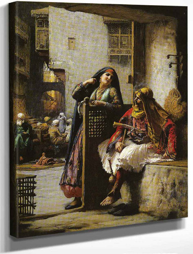 Almeh Flirting With An Armenian Policeman In Cairo By Frederick Arthur Bridgman