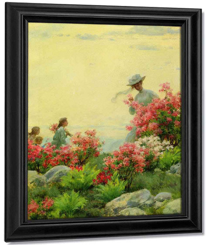 Among The Wild Azaleas By Charles Courtney Curran By Charles Courtney Curran