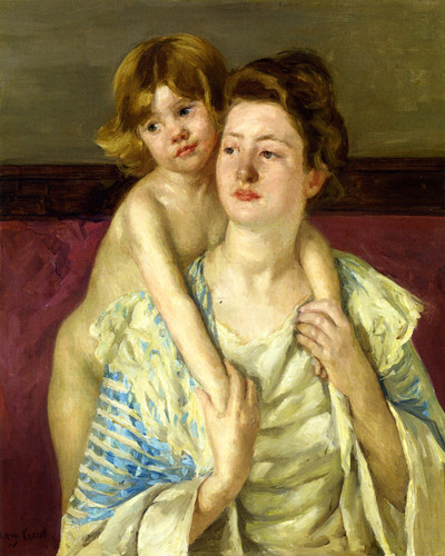 Antoinette Holding Her Child By Both Hands By Mary Cassatt By Mary Cassatt