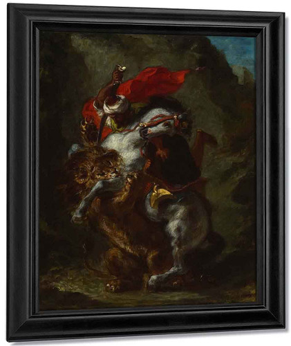 Arab Horseman Attacked By A Lion By Eugene Delacroix By Eugene Delacroix