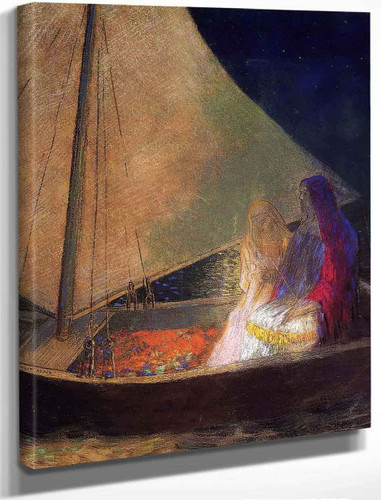 Boat With Two Figures By Odilon Redon By Odilon Redon