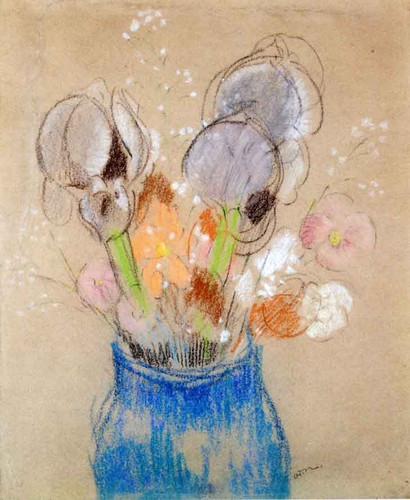 Bouquet Of Flowers, Irises By Odilon Redon By Odilon Redon