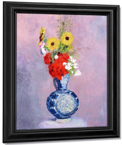 Bouquet Of Flowers In A Blue Vase1 By Odilon Redon By Odilon Redon