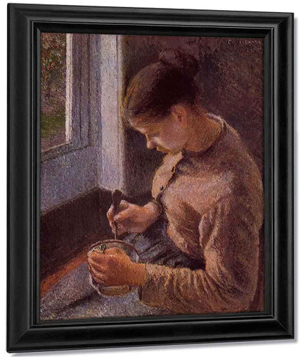 Breakfast, Young Peasant Woman Taking Her Coffee By Camille Pissarro By Camille Pissarro