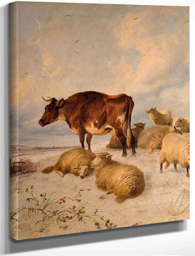 Cattle And Sheep In A Snowscape By Thomas Sidney Cooper By Thomas Sidney Cooper