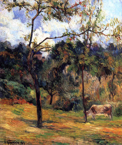 Cow In A Meadow, Rouen By Paul Gauguin By Paul Gauguin