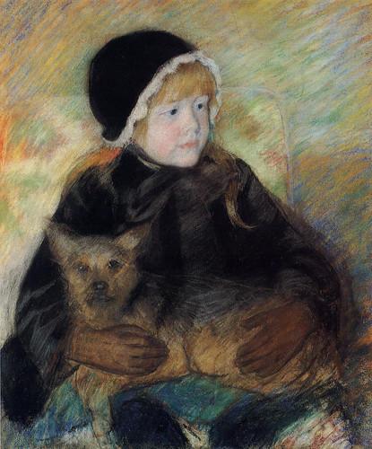 Elsie Cassatt Holding A Big Dog By Mary Cassatt By Mary Cassatt