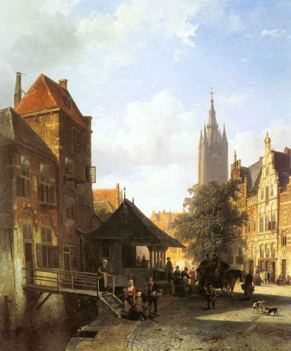Figures In A Street In Delft By Cornelius Springer