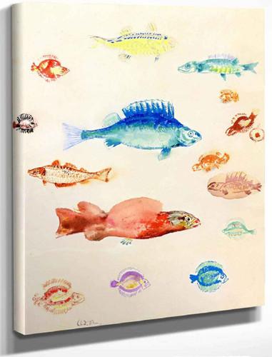 Fish Series No. 5 By Odilon Redon By Odilon Redon