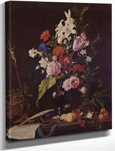 Flower Still Life With Crucifix And Skull By Jan Davidszoon De Heem By Jan Davidszoon De Heem