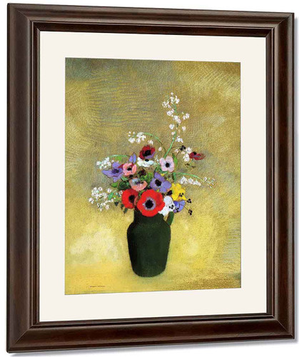 Flowers In A Green Pitcher By Odilon Redon By Odilon Redon