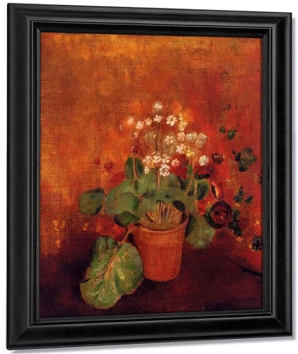 Flowers In A Pot On A Red Background By Odilon Redon By Odilon Redon