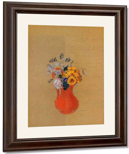 Flowers In A Red Pitcher By Odilon Redon By Odilon Redon