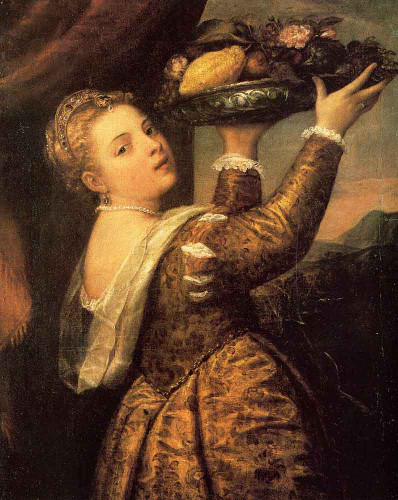 Girl With A Basket Of Fruits By Titian