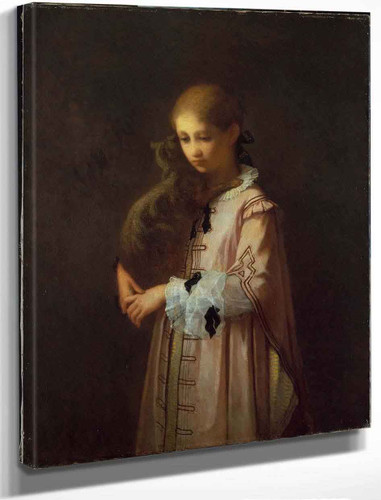 Girl With Cat By William Morris Hunt By William Morris Hunt