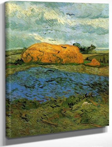 Haystacks Under A Rainy Sky By Vincent Van Gogh