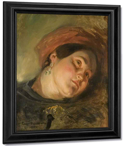 Head Of A Woman In A Red Turban By Eugene Delacroix By Eugene Delacroix
