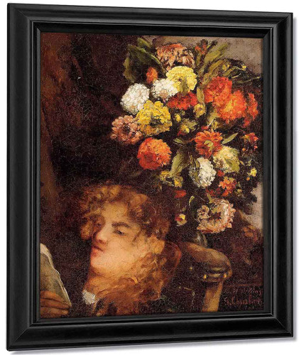 Head Of A Woman With Flowers By Gustave Courbet By Gustave Courbet