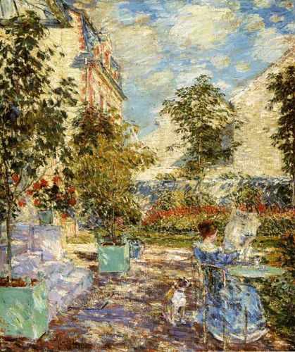 In A French Garden By Frederick Childe Hassam By Frederick Childe Hassam
