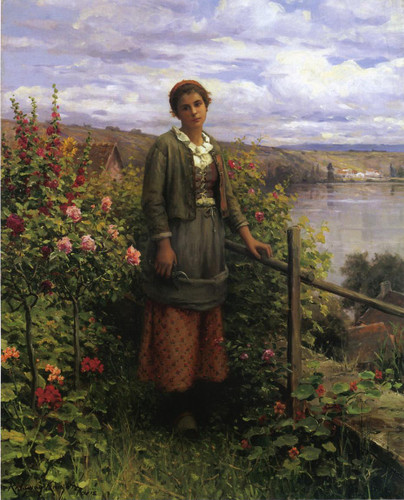 In Her Garden By Daniel Ridgway Knight By Daniel Ridgway Knight