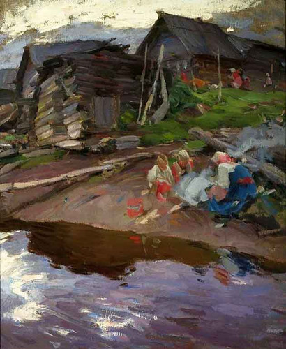 In The Evening By Abram Efimovich Arkhipov
