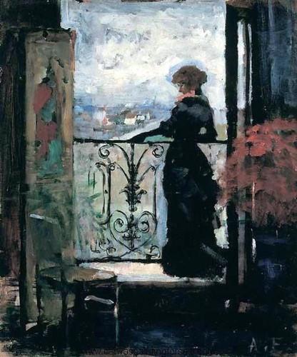 Lady On A Balcony By Albert Edelfelt
