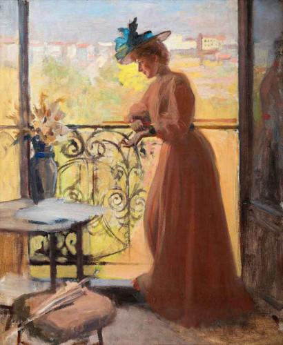 Lady On The Balcony By Albert Edelfelt