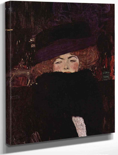 Lady With Hat And Featherboa By Gustav Klimt By Gustav Klimt