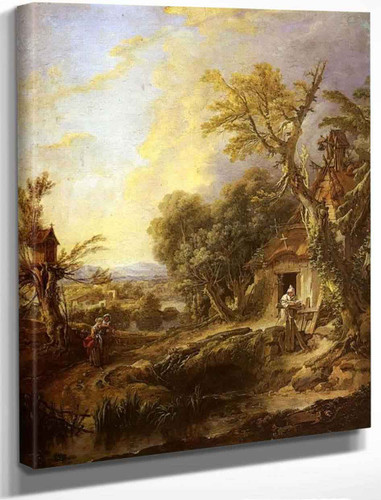 Landscape With A Hermit By Francois Boucher