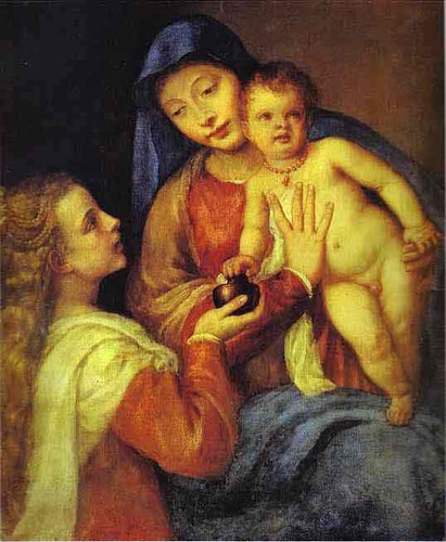 Madonna And Child With Mary Magdalene By Titian