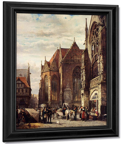 Many Figures On The Market Square In Front Of The Martinikirche Braunschweig By Cornelius Springer