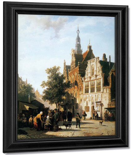 Marketview With Cityhall Woerden By Cornelius Springer