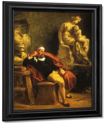 Michelangelo In His Studio By Eugene Delacroix By Eugene Delacroix