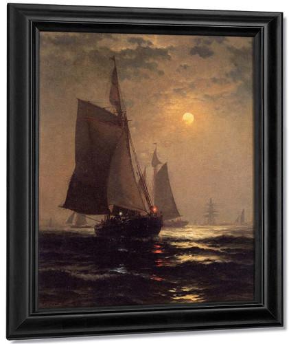 Moonlight In New York Harbor By Edward Moran