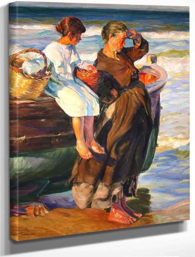 Mujer Y Nina En La Playa De Cullera By Jose Mongrell Torrent