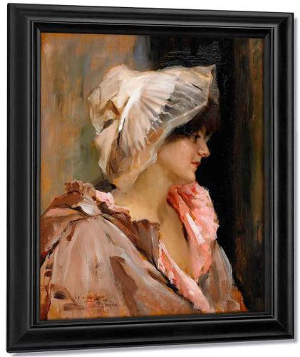 Parisian Lady In A Peignoir By Albert Edelfelt