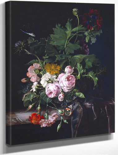 Peonies, Carnations, Thistles And Other Flowers In A Glass Vase By Willem Van Aelst By Willem Van Aelst