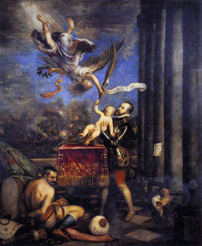 Philip Ii Offering Don Fernando To Victory By Titian