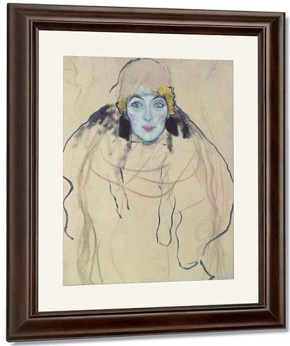 Portrait Of A Lady By Gustav Klimt By Gustav Klimt