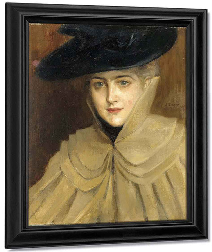 Portrait Of A Young Woman1 By Albert Edelfelt