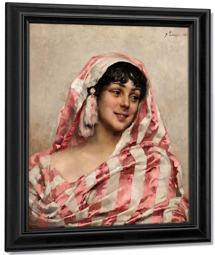 Portrait Of A Young Woman By Albert Edelfelt