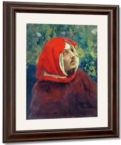 Portrait Of Dante. Study. By Ilia Efimovich Repin By Ilia Efimovich Repin